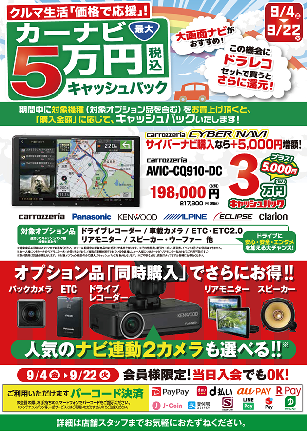 カーナビ最大5万円キャッシュバック!